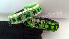 "Mine Craft ""creeper"" paracord, survival, parachute cord bracelet, video games"