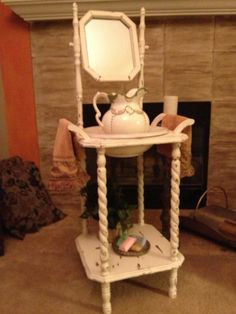 Antique Vintage Wood Wash Basin Stand W Mirror Candle