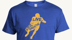 Football T-shirt, Live. Breathe. Excel. in the outline of a football player, inspirational sport design