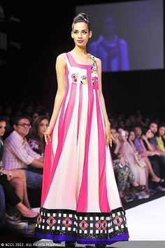 A model showcases a creation by designer Archana Kochhar on Day 5 of the Lakme Fashion Week (LFW) 2012 at Grand Hyatt in Mumbai.