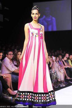 A model showcases a creation by designer Archana Kochhar on Day 5 of the Lakme Fashion Week (LFW) 2012 at Grand Hyatt in Mumbai.