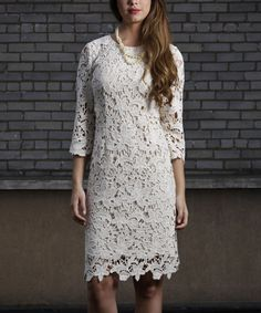 Look at this JSong Beige Quintessential Lace Sleeve Dress - Women & Plus on #zulily today!