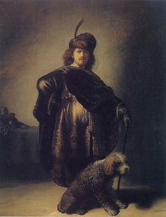 Рембрандт ван Рейн. Автопортрет в восточном костюме с пуделем. 1631.                                       .