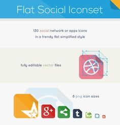 Flat Social Iconset. 130 social network and apps icons in a trendy flat simplified style.