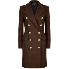 Balmain Double-Breasted Coat ($3,860) ❤ liked on Polyvore featuring outerwear, coats, balmain, leather-sleeve coats, balmain coat, oversized coat and brown coat