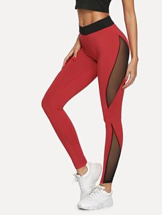 SheIn offers Mesh Insert Leggings & more to fit your fashionable needs. Belted Shirt Dress, Tee Dress, Women's Leggings, Leggings Are Not Pants, Leggings Store, Cheap Leggings, Printed Leggings, Shein Dress, Mesh Insert Leggings