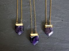 Amethyst Crystal plated in gold, on a custom length Gold Filled chain. Select from two chain designs. Great necklace to layer with other $28+