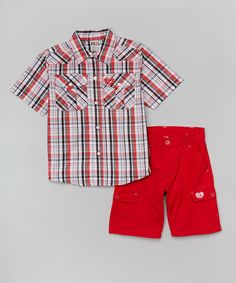 This Red Plaid Button-Up & Shorts - Toddler & Boys is perfect! #zulilyfinds