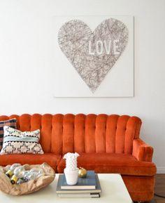LOVE this Heart String Art. #Valentine #DIY #Home