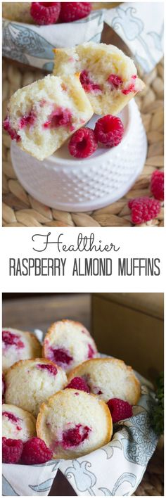 Raspberry Almond muffins -- raspberries, coconut oil, Greek yogurt, milk -- maybe almond milk? Healthy Desserts, Delicious Desserts, Yummy Food, Diy Dessert, Dessert Recipes, Yogurt Recipes, Breakfast Desayunos, Breakfast Recipes, Brunch Recipes