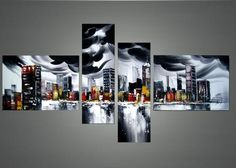 Black & Grey Cityscape Architecture Oil Painting | 4 Panel | 1132