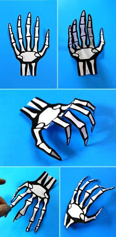 Halloween costume accessories. How to make paper skeleton hands. Free template…