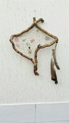 Bohemian dream catcher, native american style made from nature, boho décor, wooden dream catcher, unique rustic home décor