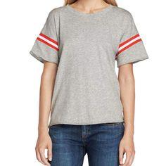 Rag and Bone Grey Vintage Crew with Varsity Ribbing T-Shirt