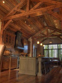 Granite - simple, Island, Breakfast Bar, Exposed Beams, Rustic, Custom Hood/Ventilation, Raised Panel, Glass Panel, One-wall, Pendant