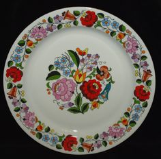 Hand Painted Hungarian Kalocsa Floral Kalocsa by TheMightyCat