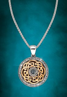 Celtic Two-Tone Eternal Knot Pendant with White Topaz, designed by Keith Jack