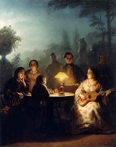"""Petrus van Schendel (1806-1870) ~ Zomeravond bij lamp en maanlicht (Summer night with light and moonlight) ~ Petrus Van Schendel was a Dutch-Belgian genre painter in the Romantic style who specialized in nighttime scenes, lit by lamps or candles. This led to him being known as """"Monsieur Chandelle""""."""