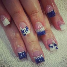 I'm not a cowboys fan but these are super cute Dallas Cowboys Nail Designs, Dallas Cowboys Nails, Football Nails, Nail Nail, Nail Tech, Gel Nails, Acrylic Nails, Nice Nails, Fancy Nails