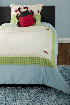 Ladybug Green Twin Size Kids Comforter Bed Set