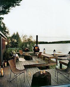Decks/patios on a lake. Outdoor Rooms, Outdoor Gardens, Outdoor Living, Lakeside Living, Outdoor Seating, Lakeside View, Lakeside Cabin, Outdoor Patios, Lakeside Terrace