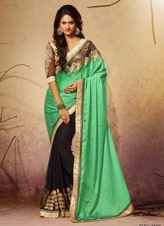 Stylish Turquoise And Black Satin Net Designer Half N Half Saree http://www.angelnx.com/Sarees/Party-Wear-Sarees