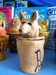 This particular project was a school class activity with years 5 & It was so good, I had to add it on the Art Cabin site. The children had to make Canopic Jars from clay. I decided that it w. Ancient Egypt Activities, Ancient Egypt Crafts, Egyptian Crafts, Egyptian Art, Egyptian Jewelry, Ancient Aliens, Ancient History, Ancient Egypt Display, Canopic Jars