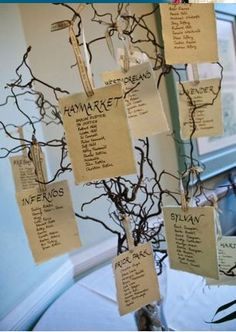 Willow table plan - thought we could use some of the willow from the roof to hang the seating plans from??  Z xXx