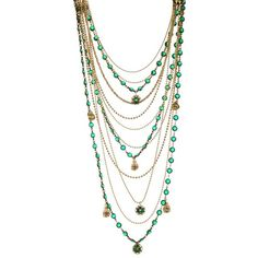 Bee Charming Jewelry Vintage Great Gatsby Necklace (£92) ❤ liked on Polyvore featuring jewelry, necklaces, accessories, jewels, green, women, rhinestone necklace, green necklace, vintage rhinestone necklace y multi strand necklace