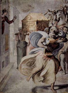 DAVID DANZANDO ante el Arca de la Alianza. Fresco por Francesco Salviati. Sala de Audiencias, Palacio Sacchetti, Roma. Francesco SALVIATI, pseudónimo de Francesco de' Rossi (Florencia, 1510 - Roma, 1563), fue un pintor manierista italiano. También fue conocido como Cecchino del Salviati. Estos diversos apelativos tuvieron su origen en el cardenal Giovanni Salviati, patrón del artista y con cuyo séquito marchó a Roma.