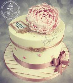 Vintage Peony And Handpainted Lace Birthday Cake. - http://pontycarlocakes.com/vintage-peony-and-handpainted-lace-birthday-cake/