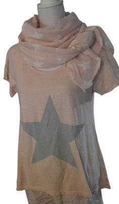 Impressionen Longshirt Sweatshirt T-Shirt kurzarm rosa lachs Stern grau 38 40 42
