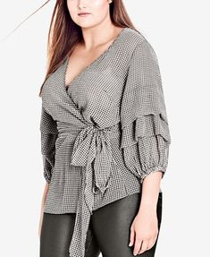 ac609b25602702 City Chic Trendy Plus Size Ruffled Faux-Wrap Top   Reviews - Tops - Plus  Sizes - Macy s