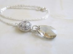 Swarovski Crystal Grey Teardrop and Cubic Zirconia Sterling Silver Pendant.
