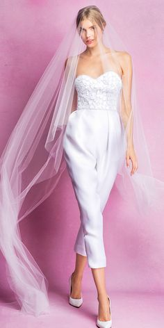 Modern Bridal Outfit: 18 Wedding Pantsuit Ideas ❤ These bridal pantsuits are no less elegant, ceremonial and feminine than classic bridal gowns. See more: http://www.weddingforward.com/wedding-pantsuit-ideas/ #wedding #pantsuit
