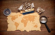 Wallpaper compass, magnifying glass, map, model