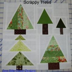 This tree block pattern will eat up your green and brown fabric scraps! The Scrappy Trees Block Pattern features a few differently-shaped evergreen trees against a stark white background. They look like Christmas trees in the snow! Tree Patterns, Quilt Patterns, Block Patterns, Christmas Tree Quilt Block, Christmas Trees, Christmas Things, Christmas Projects, Quilting Tutorials, Quilting Designs