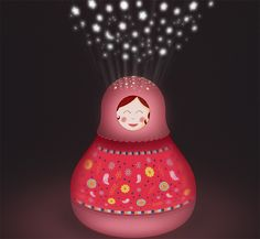 Un projecteur d'étoiles musical Matriochka rose de la marque Trousselier. Avec une double fonction, il projette des étoiles au plafond en musique et un décor s'anime en même temps pour endormir bébé. Fonctionne sur batterie fournie avec un cable USB pour le rechargement. A partir de 0m+