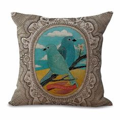 Pillow Cases with Bird Paintings