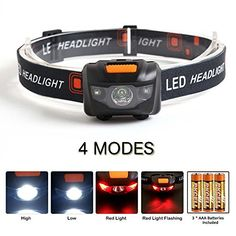 From 4.99 Holyfire Led Headlamp 4 Modes Headlight Batteries Powered Adjustable Waterproof Super Bright Flashlight With Red Strobe For Outdoor Running Fishing Hunting Camping Reading Hiking Walking And Kids Black(battery Included)
