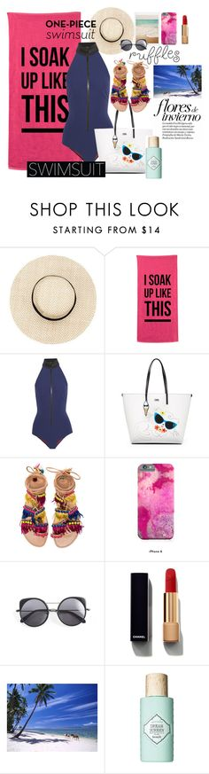"""#ruffles"" by quynhhoa19 ❤ liked on Polyvore featuring Lisa Marie Fernandez, Karl Lagerfeld, Elina Linardaki, Wood Wood, Chanel, Benefit and ruffledswimwear"