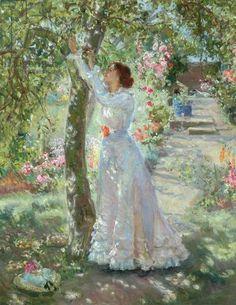 The Garden - painting by Dame Ethel Walker Images Vintage, Art Vintage, Victorian Paintings, Victorian Art, Garden Painting, Garden Art, Classical Art, Art Uk, Renaissance Art