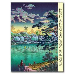 Cool japanese Ueno Shinobazu Pond Tsuchiya Koitsu Post Card