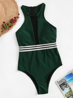 Shop Striped Contrast Mesh High Neck One Piece Swimsuit online. SHEIN offers Striped Contrast Mesh High Neck One Piece Swimsuit & more to fit your fashionable needs. One Piece Swimsuit Striped, Striped Bikini, Kids Swimwear, Swimsuits, Bikinis, Sierra Leone, Uganda, Jamaica, Romwe