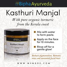 Bipha Ayurveda Kasthuri Manjal Improves complexion of skin    Excellent antiseptic which also reduces pigmentation. Removes scars and unwanted facial hair.