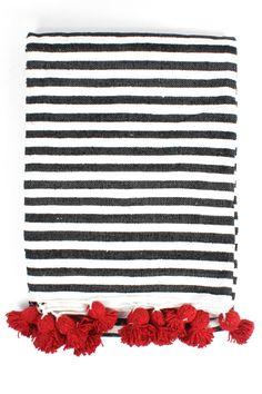 Striped Cotton Pom Pom Blanket