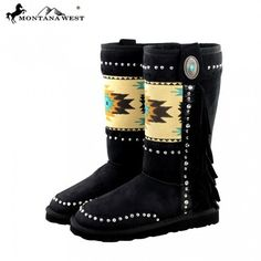 BST-021 Montana West Aztec Collection Boots Each pair of these faux suede boots by Montana West have: Colorful aztec on the front Embellished with silver studs and rhinestones Leather side fringe with