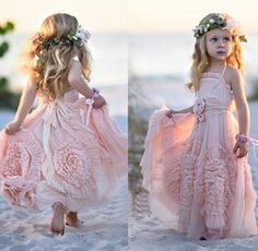 Pink Halter Little Girls Party Dresses 2016 Chiffon Ruffles Flower Girl Dresses For Beach Wedding Floor Length Pageant Gowns With Flowers Flower Girl Dresses Usa Flower Girl Dresses With Tulle From Sexypromdress, $72.26| Dhgate.Com