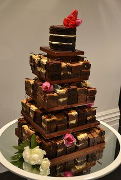Brownie tower wedding cake - Naked cake top tier, with stacks of brownies - cream cheese brownies, salted caramel brownies, peanut butter brownies and gluten free frudge brownies.  Miss Ladybird Cakes - Melbourne weddings