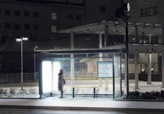 Light Therapy in Umea, Sweden, transformed the city's bus stations. Photo: Ola Bergengren  Sitting 300 miles north of Stockholm, Umea receives very little natural daylight during the winter months, which can take a severe toll on the mental and physical health of some people.  After the lights were installed in the bus stops, ridership in the city increased by 50%.